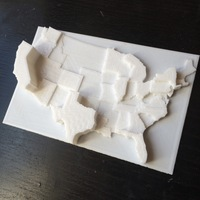 Small United States by Electoral Votes 3D Printing 110126