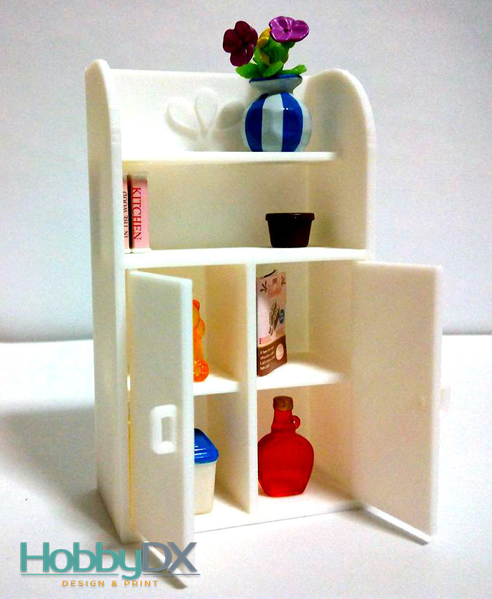 3D Printed Miniature furniture shelf cabinet toy for sylvanian ...