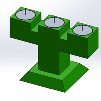 Small 3 Candle Holder Te Light (Candelabro de 3 velas de te) 3D Printing 110630