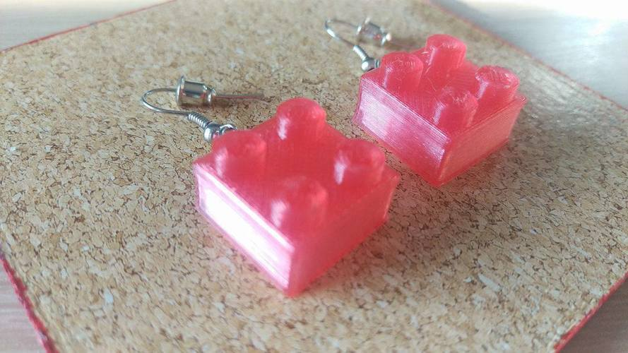 Lego Earrings Small 3D Print 112338