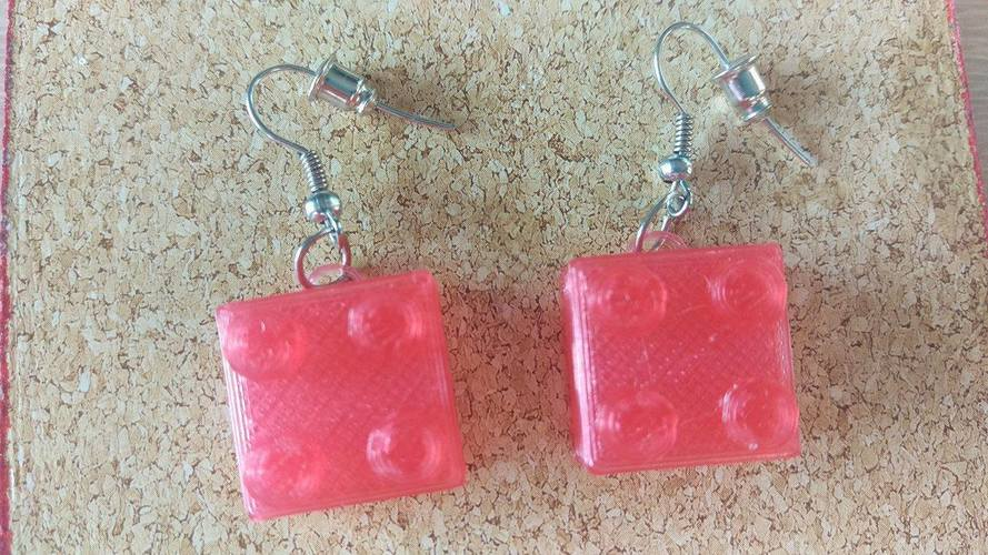 Lego Earrings Small 3D Print 112339