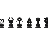 Small Chess set 9 - Robot Themed 3D Printing 112737