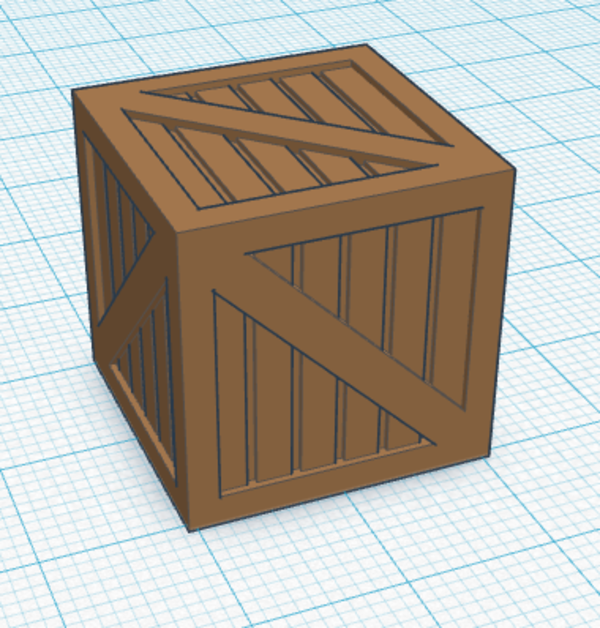 Medium Wood Crate 3D Printing 113125