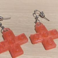Small Lego Cross Earrings 3D Printing 113890