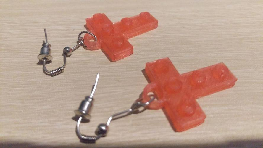 Lego T Earrings 3D Print 113893