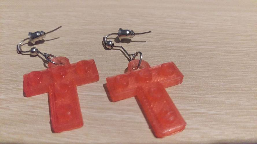 Lego T Earrings 3D Print 113894