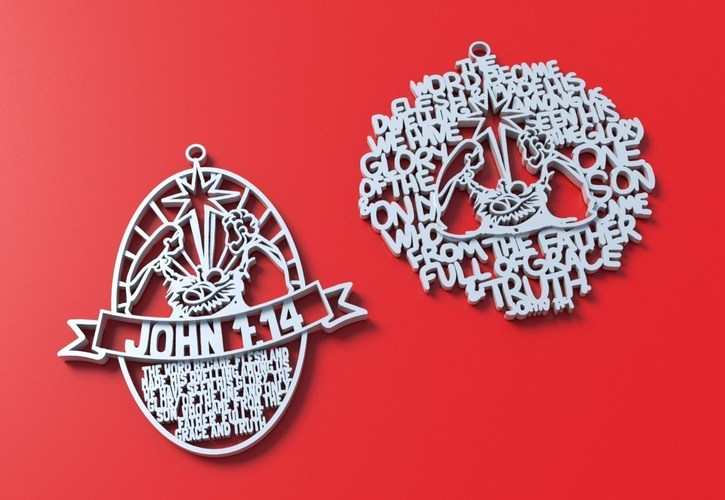 Christmas Ornament hand written version John 1:14 3D Print 114170