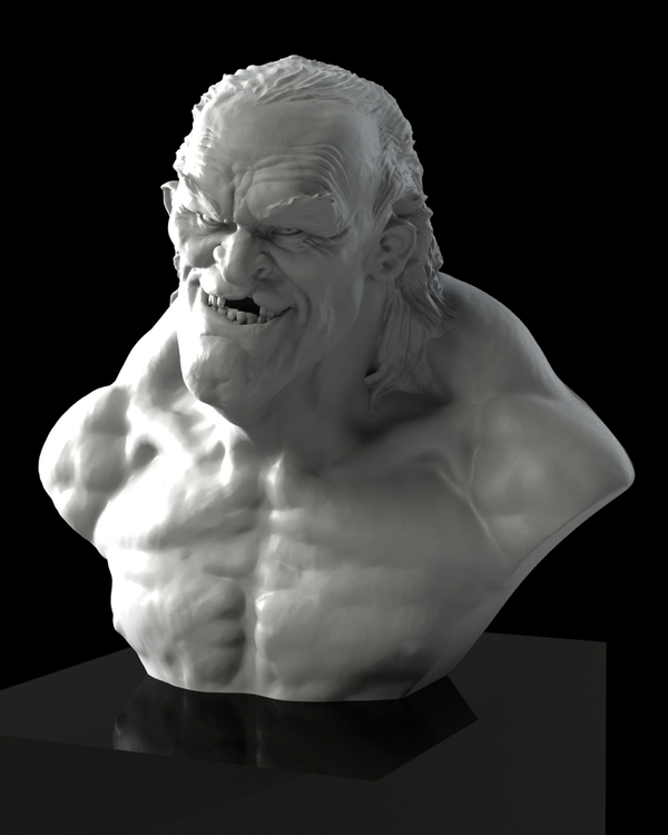 Medium Scary old dude bust ! 3D Printing 114222
