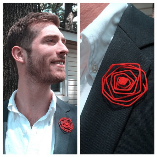 Wire Lapel Flower 3D Print 11426