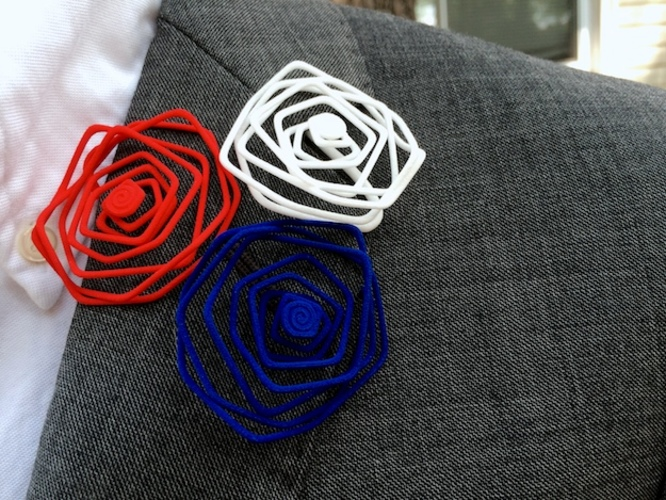 Wire Lapel Flower 3D Print 11427