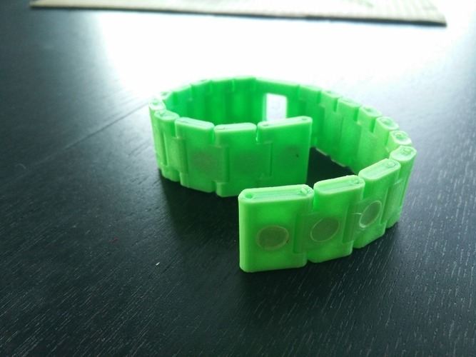 Watch-style link bracelet with magnetic closure 3D Print 114619