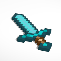 Small Minecraft Diamond Sword 3D Printing 115471