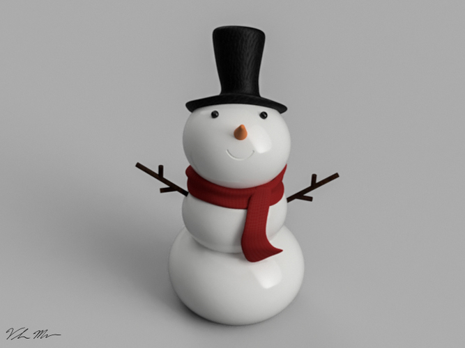Snowman Christmas Ornament 3D Print 115999