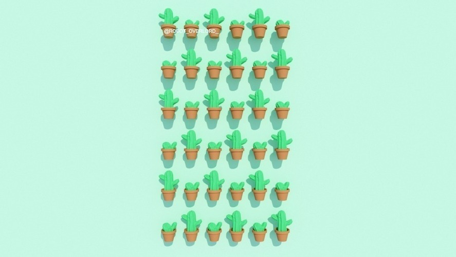 Potted Cactus 3D Print 116077