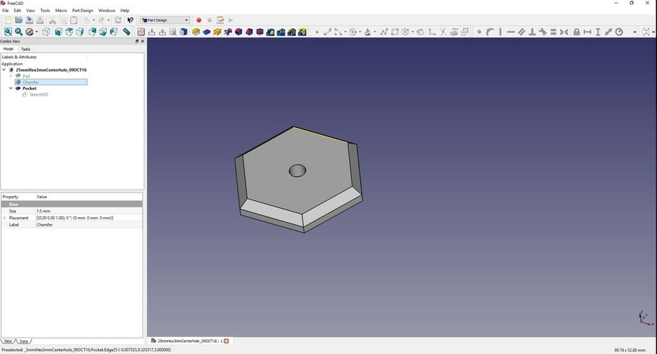 25mm (across flat) Hexbase with 3mm hole 3D Print 116838