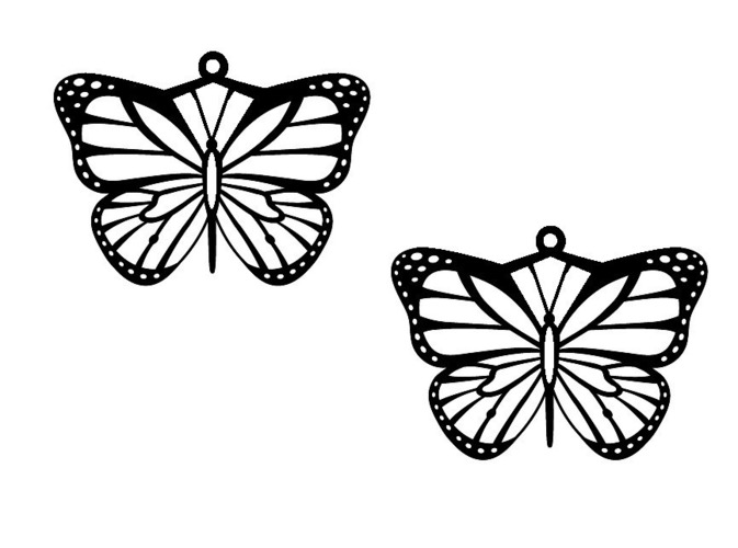 Monarch Butterfly Necklace with Matching Earrings 3D Print 116847