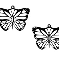 Small Monarch Butterfly Necklace with Matching Earrings 3D Printing 116847