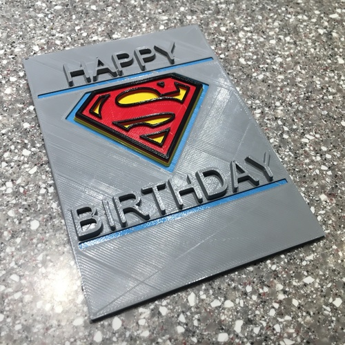 SuperMan Birthday Card 3D Print 116993