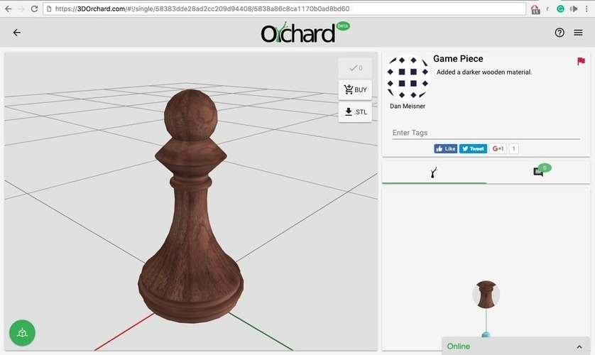Pawn Chess Piece  3D Print 117771