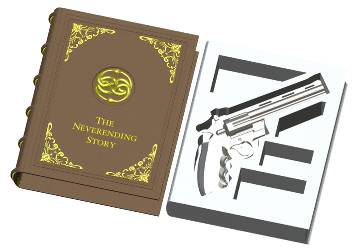 The Secret Book Box & Gun (Colt Python .357 Magnum) 3D Print 118113