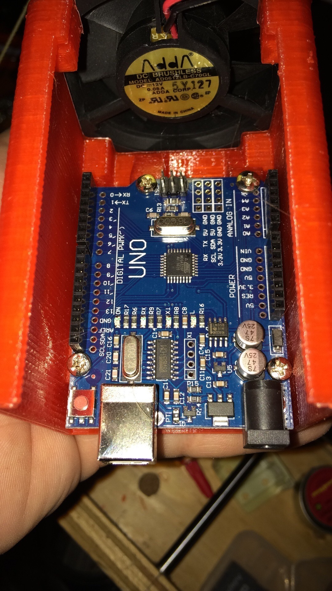 Arduino UNO actively vented slide top case  @ Pinshape