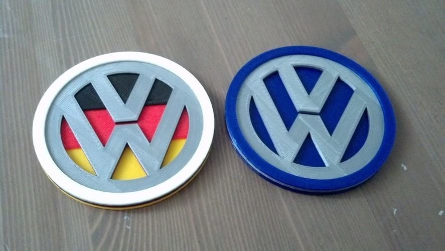 VW Badge Coasters 3D Print 119701
