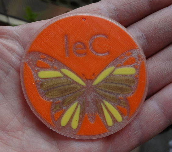Phosphorescent butterfly with logo 3D Print 120065
