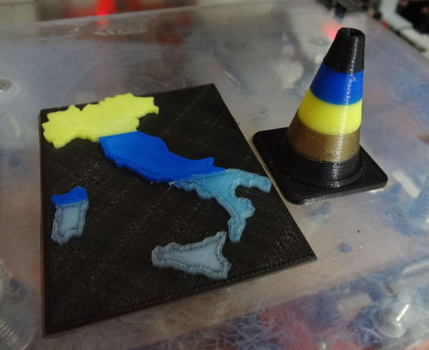 Four color roadblock printed with Flux capacitor 4 way 3D Print 120204