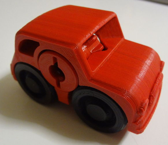2 colors - Fiat Rubber band Powered car 3D Print 120207