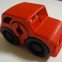 Small 2 colors - Fiat Rubber band Powered car 3D Printing 120207