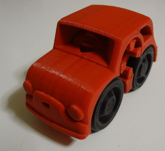 2 colors - Fiat Rubber band Powered car 3D Print 120208
