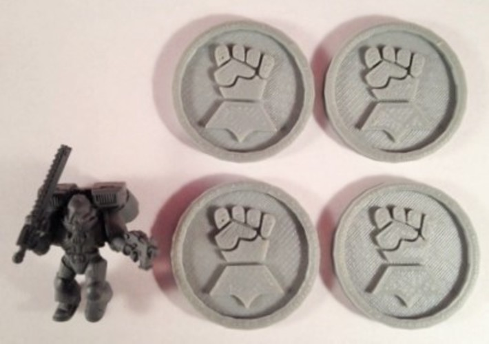 40mm X 4mm Token - Marker of Impieral Fists 40K Bits 3D Print 120447