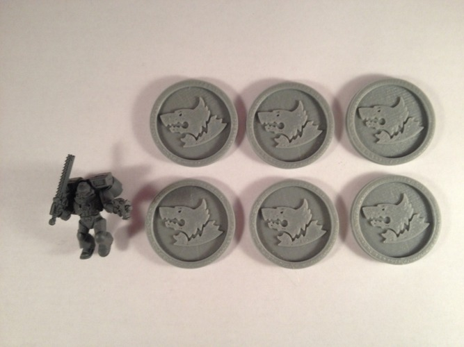 40mm X 4mm Token - Marker of Space Wolves 40K Bits 3D Print 120453