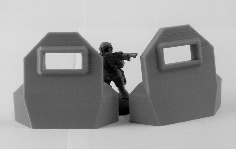 Plain Barricade + L Pair 3D Print 120464