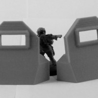 Small Plain Barricade + L Pair 3D Printing 120464