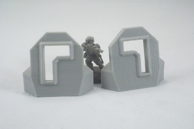 Plain Barricade + L Pair 3D Print 120465