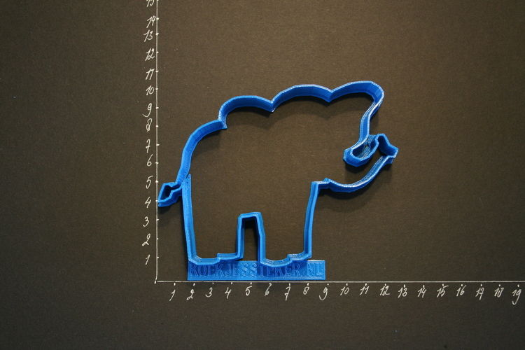 An Elephant Cookiecutter from our Foodsafe collection.  3D Print 120492