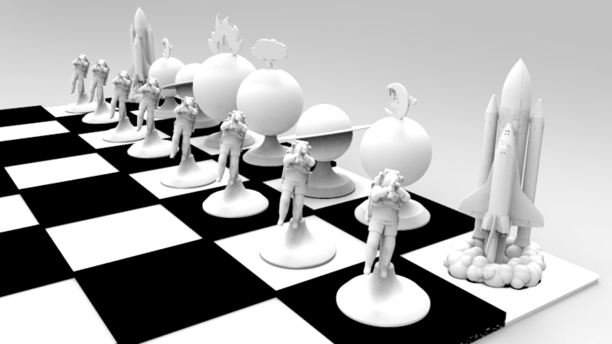 The Space Travel Chess Set (print & add magnets) 3D Print 120555