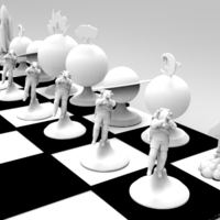 Small The Space Travel Chess Set (print & add magnets) 3D Printing 120555