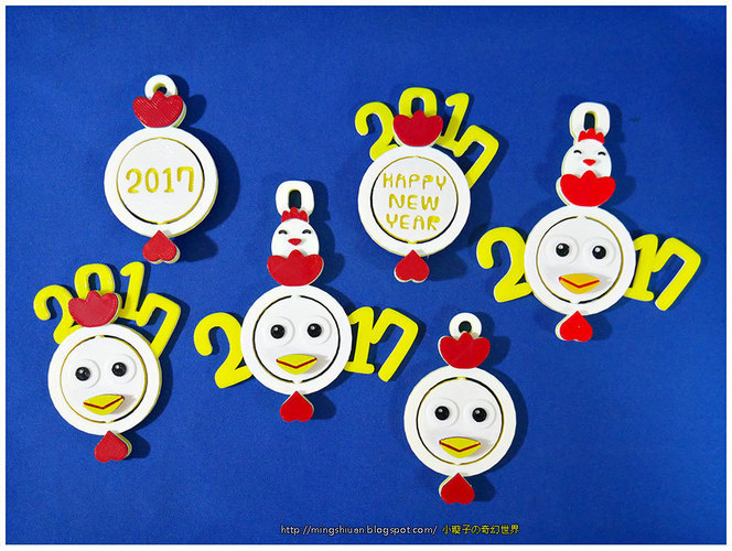 2017 HAPPY CHINESE NEW YEAR-YEAR OF The Rooster Keychain 3D Print 120581