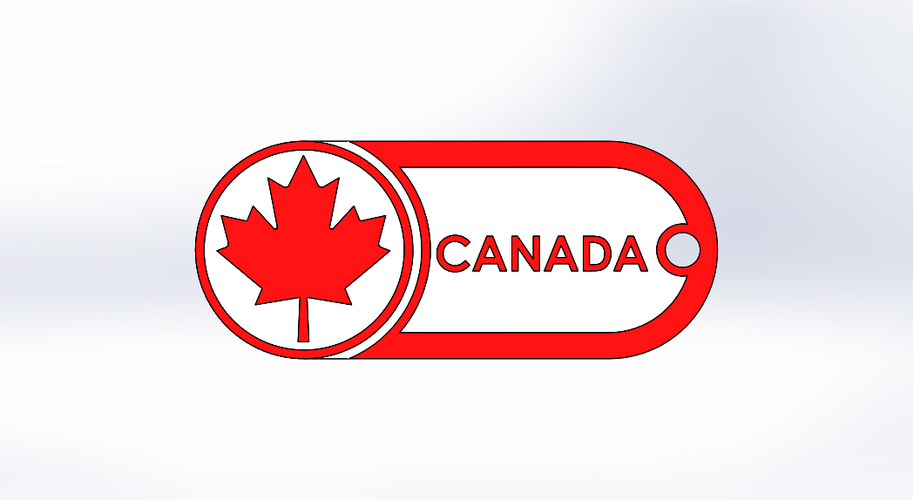 Keychain-Canada-dual color 3D Print 120841