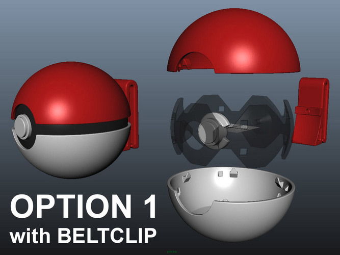 PokeBall with Belt Clip 3D Print 120966
