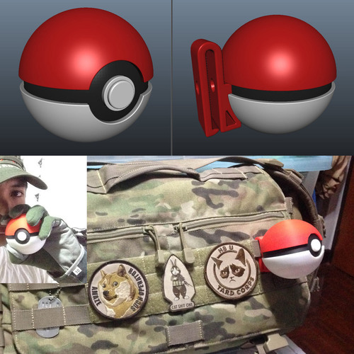 PokeBall with Belt Clip 3D Print 120967