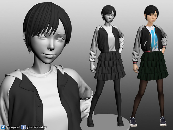 Karl the short hair girl in streetwear outfit 3D Print 120980