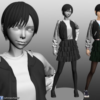 Small Karl the short hair girl in streetwear outfit 3D Printing 120980