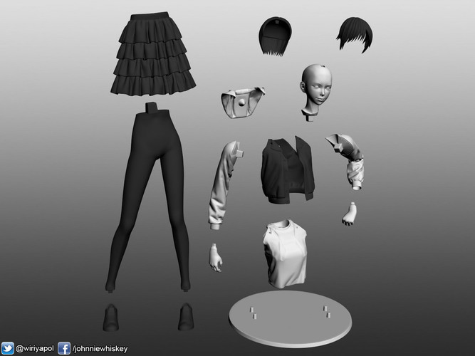 Karl the short hair girl in streetwear outfit 3D Print 120983