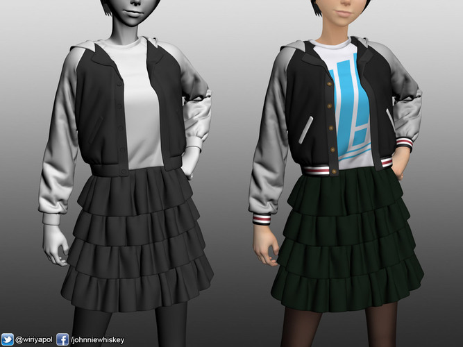 Karl the short hair girl in streetwear outfit 3D Print 120985