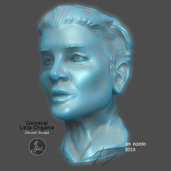 Medium Carrie Fisher Tribute : General Leia Organa 3D Printing 121219