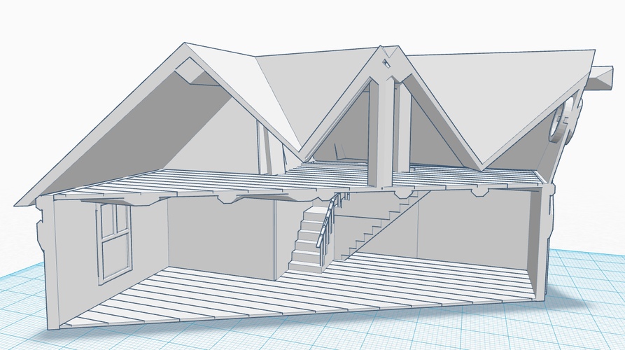 Simple Old House (Medium Sized) 3D Print 121255