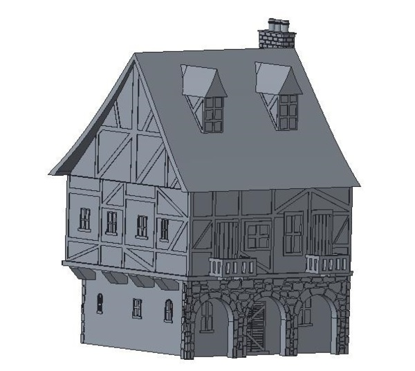Medium Another Tudor style house for Wargaming 3D Printing 121847